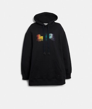ELONGATED HOODIE WITH RAINBOW HORSE AND CARRIAGE PRINT