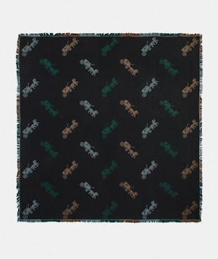 HORSE AND CARRIAGE PLAID PRINT JACQUARD OVERSIZED SQUARE SCARF