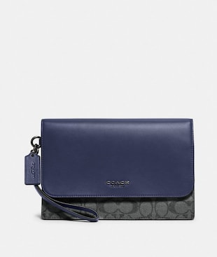 GRAHAM POUCH IN COLORBLOCK SIGNATURE CANVAS