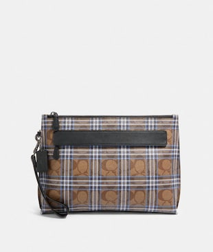 CARRYALL POUCH IN SIGNATURE CANVAS WITH SHIRTING PLAID PRINT