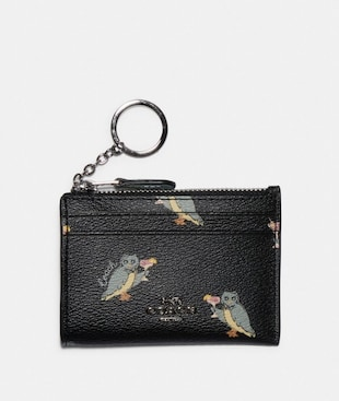 MINI SKINNY ID CASE WITH PARTY OWL PRINT
