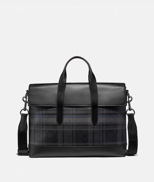 HAMILTON PORTFOLIO BRIEF IN SIGNATURE CANVAS WITH PLAID PRINT