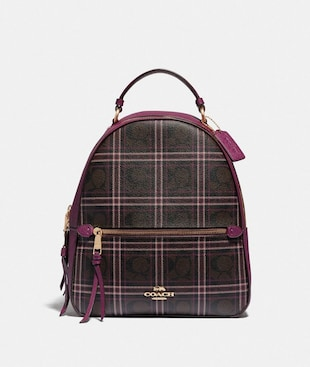 JORDYN BACKPACK IN SIGNATURE CANVAS WITH SHIRTING PLAID PRINT