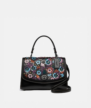 TILLY TOP HANDLE SATCHEL WITH LEATHER SEQUINS