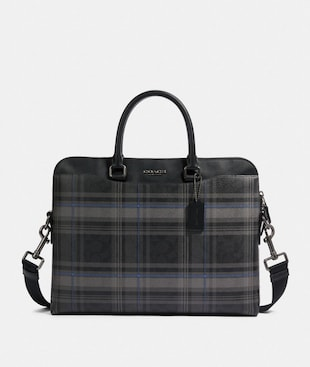 BECKETT PORTFOLIO BRIEF IN SIGNATURE CANVAS WITH PLAID PRINT