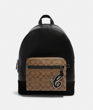 WEST BACKPACK IN SIGNATURE CANVAS WITH SIGNATURE MOTIF