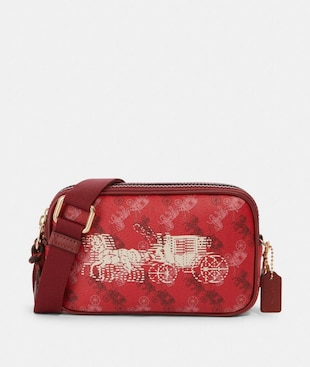 CROSSBODY POUCH WITH HORSE AND CARRIAGE PRINT