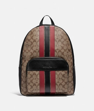 HOUSTON BACKPACK IN SIGNATURE CANVAS WITH VARSITY STRIPE