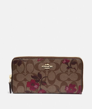 ACCORDION ZIP WALLET IN SIGNATURE CANVAS WITH VICTORIAN FLORAL PRINT