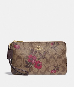 DOUBLE ZIP WALLET IN SIGNATURE CANVAS WITH VICTORIAN FLORAL PRINT