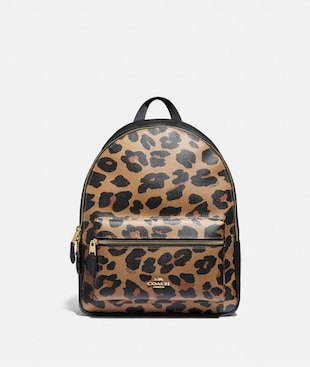 MEDIUM CHARLIE BACKPACK WITH LEOPARD PRINT