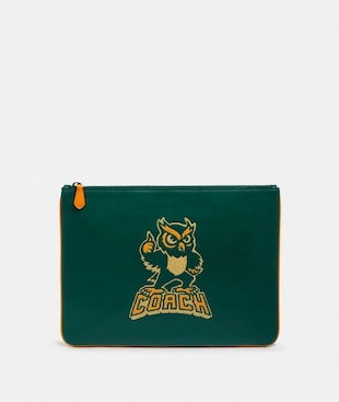 LARGE POUCH WITH PARTY OWL MOTIF
