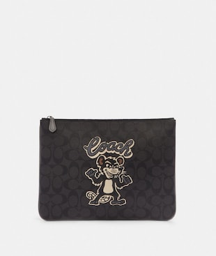 LARGE POUCH IN SIGNATURE CANVAS WITH PARTY RAT MOTIF