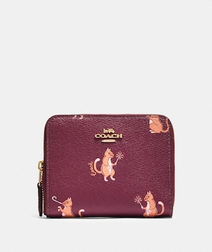 SMALL ZIP AROUND WALLET WITH PARTY CAT PRINT