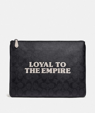 STAR WARS X COACH LARGE POUCH IN SIGNATURE CANVAS WITH LOYAL TO THE EMPIRE