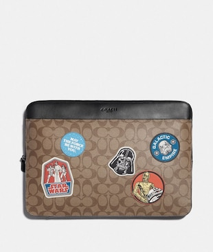 STAR WARS X COACH LAPTOP CASE IN SIGNATURE CANVAS WITH PATCHES