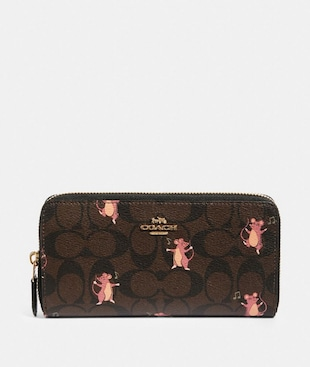 ACCORDION ZIP WALLET IN SIGNATURE CANVAS WITH PARTY MOUSE PRINT