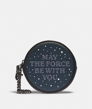 STAR WARS X COACH ROUND COIN CASE WITH MAY THE FORCE BE WITH YOU