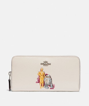 STAR WARS X COACH ACCORDION ZIP WALLET WITH C-3PO AND R2-D2