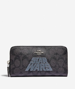 STAR WARS X COACH ACCORDION ZIP WALLET IN SIGNATURE CANVAS WITH MOTIF