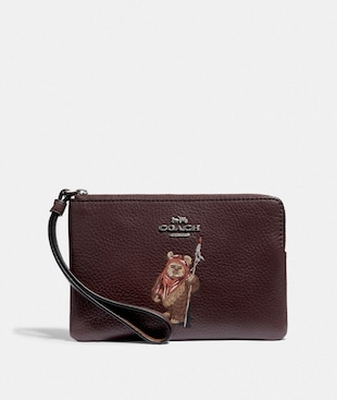 STAR WARS X COACH CORNER ZIP WRISTLET WITH EWOK