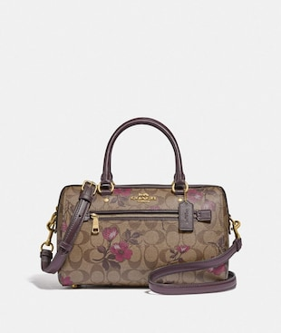 ROWAN SATCHEL IN SIGNATURE CANVAS WITH VICTORIAN FLORAL PRINT