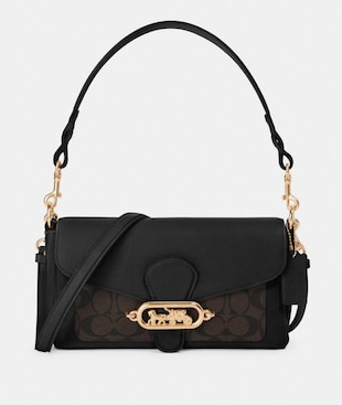 SMALL JADE SHOULDER BAG WITH SIGNATURE CANVAS DETAIL
