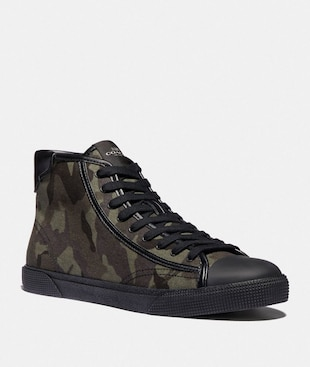 C207 HIGH TOP SNEAKER WITH CAMO PRINT