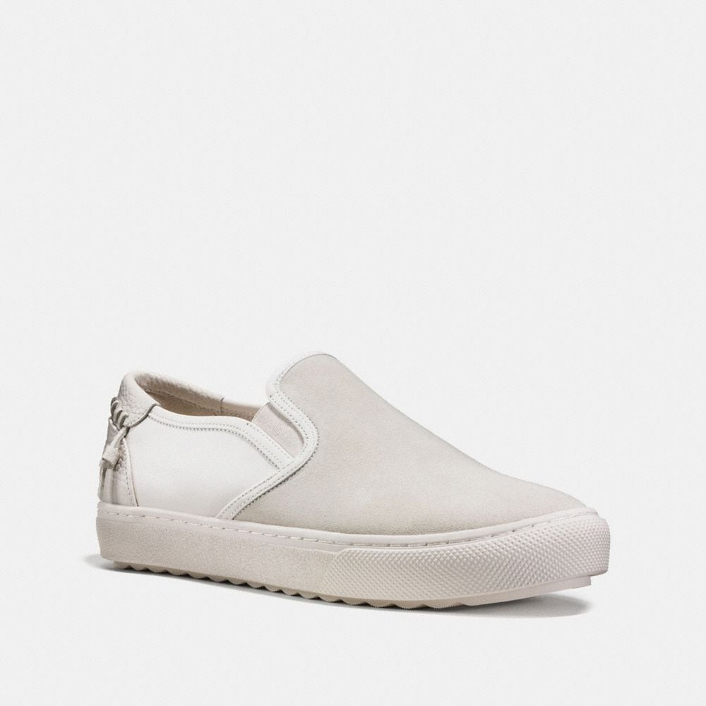C115 LEATHER AND SUEDE SLIP ON SNEAKER