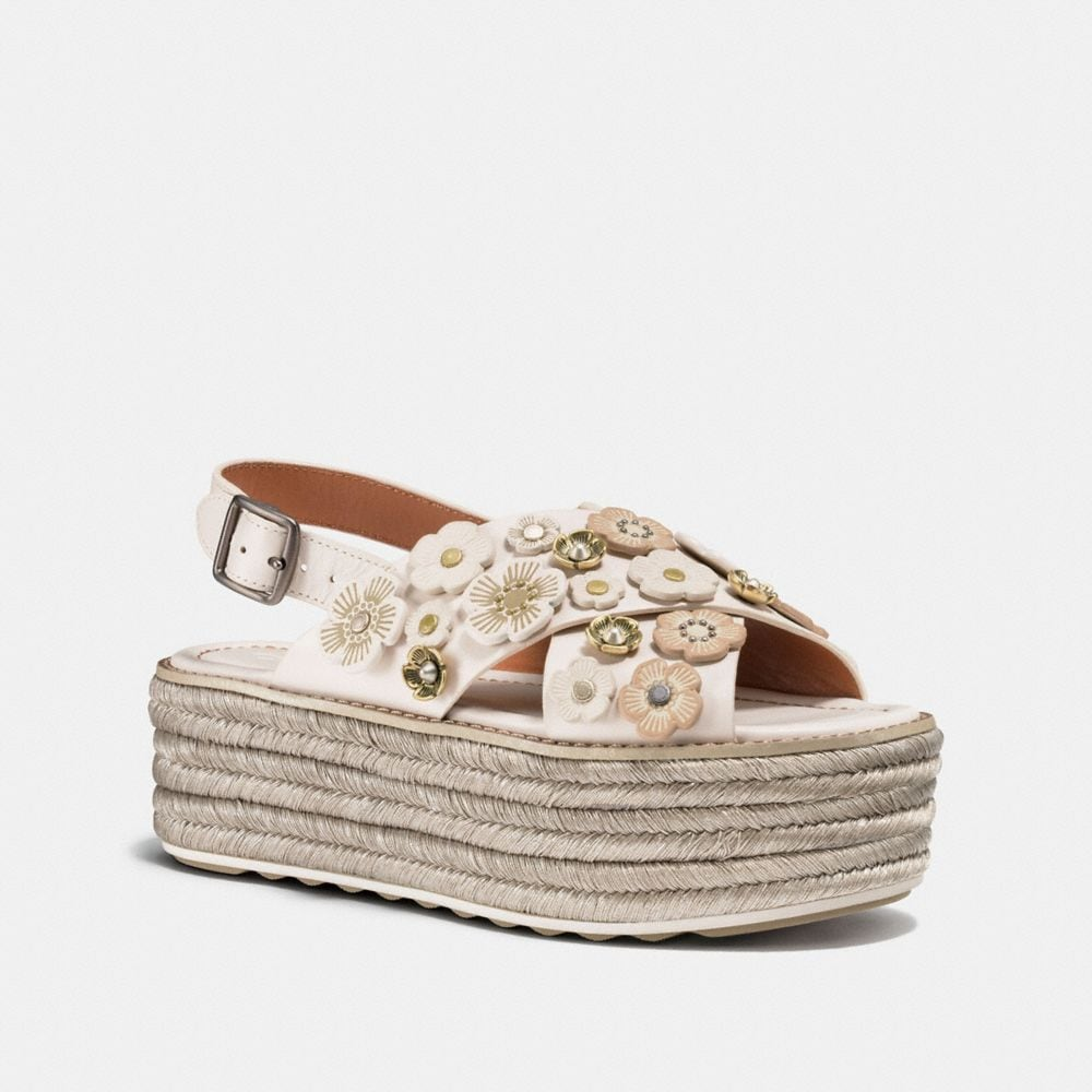 ESPADRILLE SANDAL WITH TEA ROSE