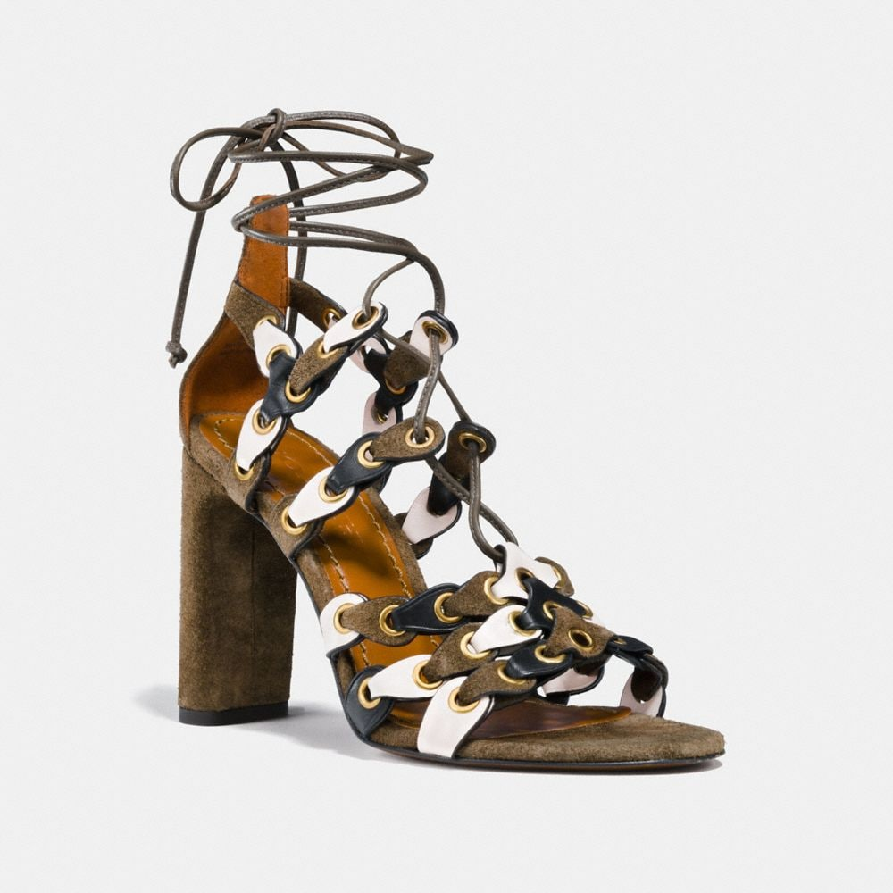 LACE UP HEEL SANDAL WITH COACH LINK