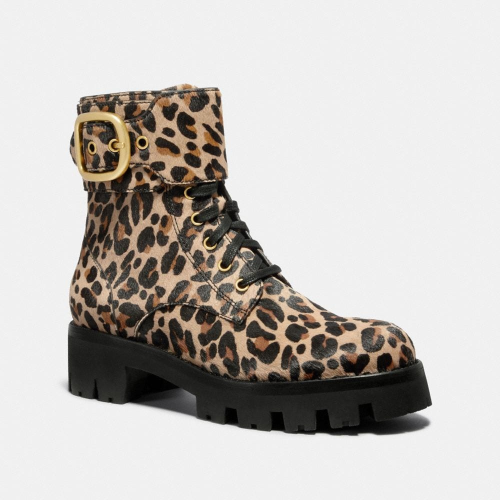 LUCY LACE UP BOOTIE WITH LEOPARD PRINT