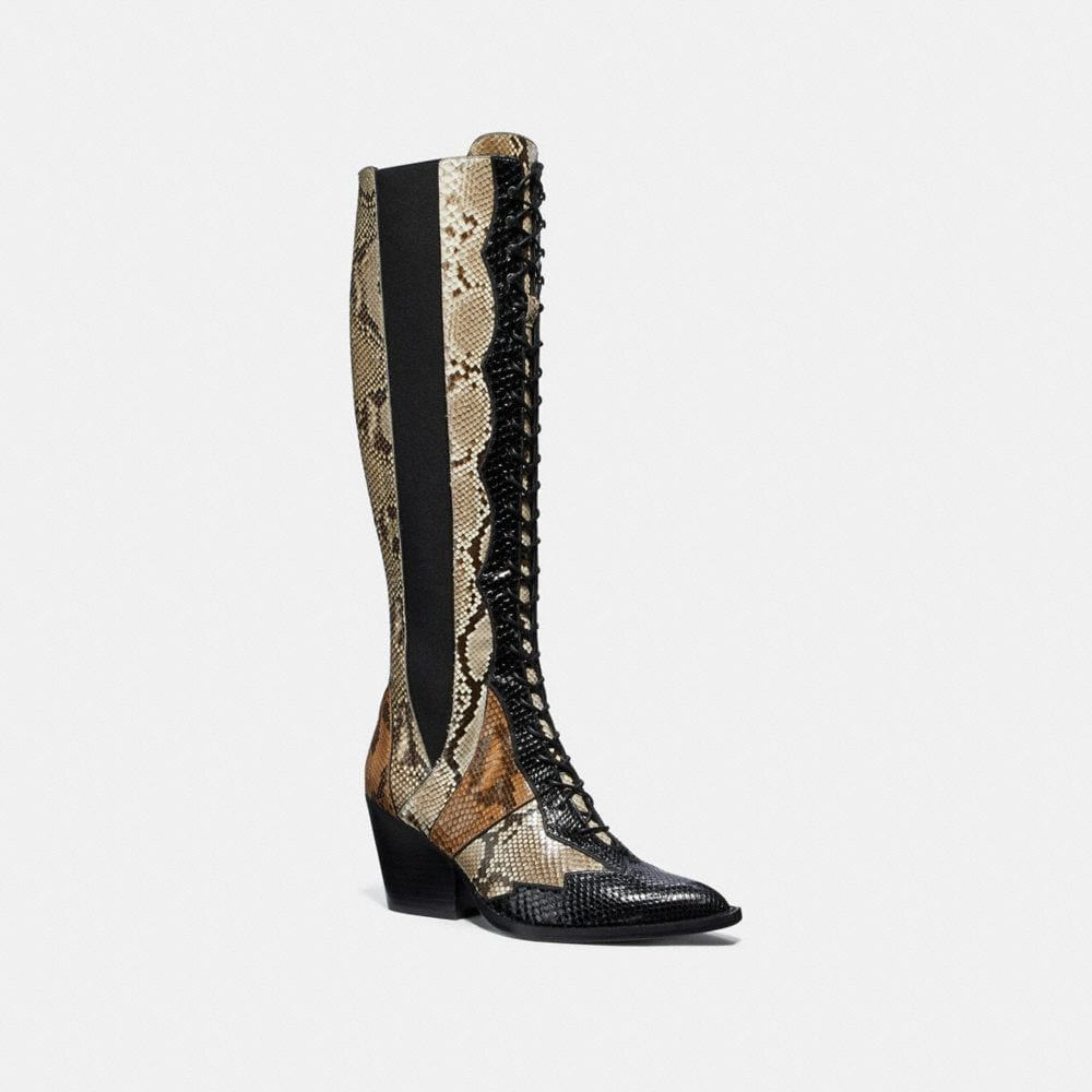LACE UP BOOT WITH PATCHWORK SNAKE
