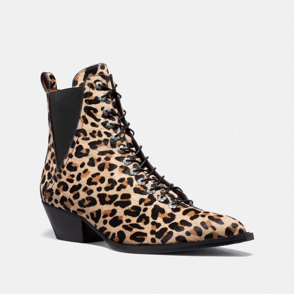 LACE UP BOOTIE WITH LEOPARD PRINT