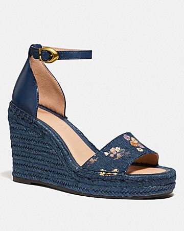 KIT WEDGE ESPADRILLE WITH FLORAL BOW PRINT
