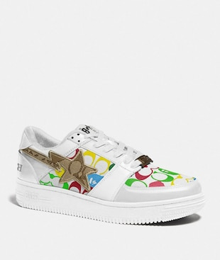 BAPE X COACH BAPESTA SNEAKER WITH STA MOTIF IN SIGNATURE CANVAS WITH APE HEAD