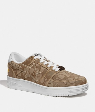 BAPE X COACH BAPESTA SNEAKER WITH STA MOTIF IN SIGNATURE JACQUARD WITH APE HEAD