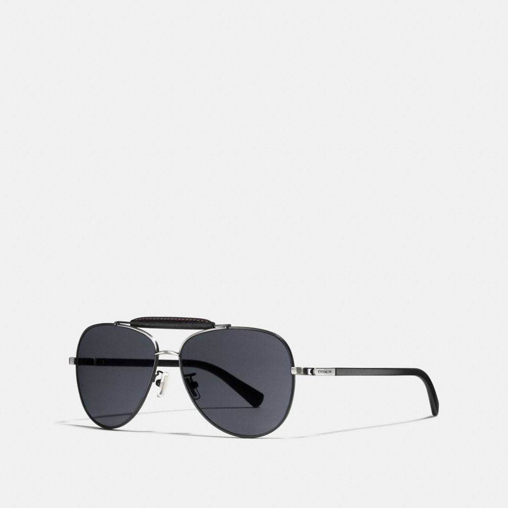 LEATHER AVIATOR SUNGLASSES