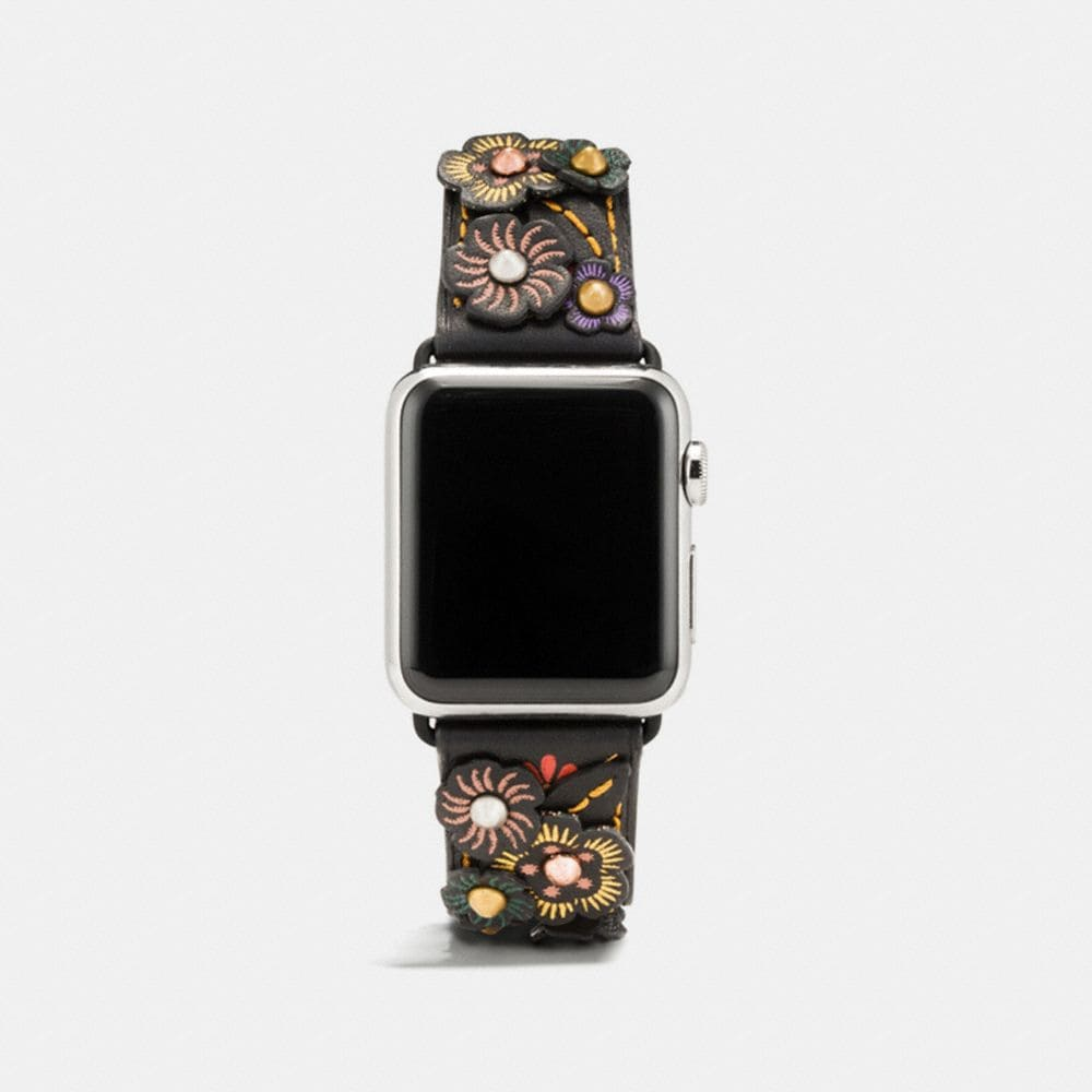 APPLE WATCH® LEATHER STRAP WITH TEA ROSE APPLIQUE
