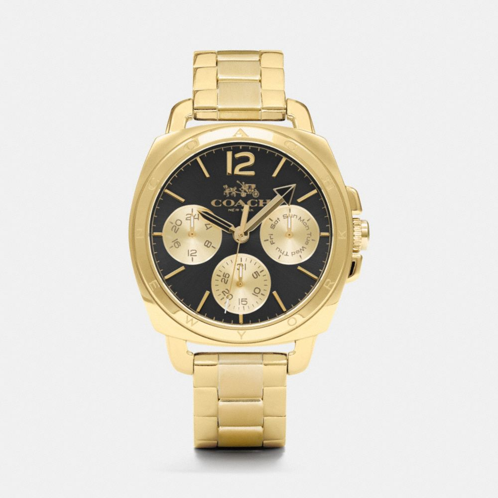 BOYFRIEND 38MM GOLD PLATED MULTIFUNCTION BRACELET WATCH