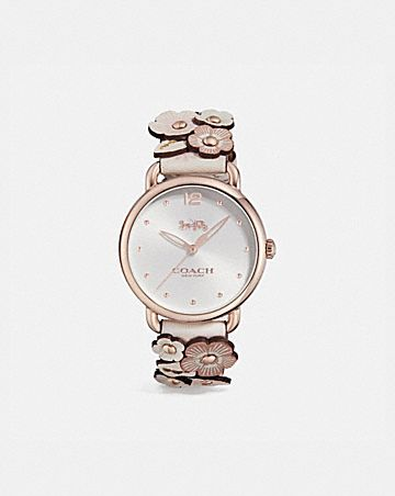 DELANCEY WATCH WITH FLORAL APPLIQUE, 36MM