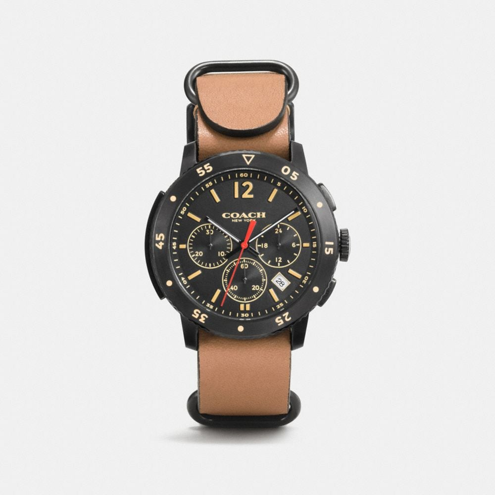 BLEECKER SPORT BLACK IONIZED PLATING LEATHER STRAP WATCH