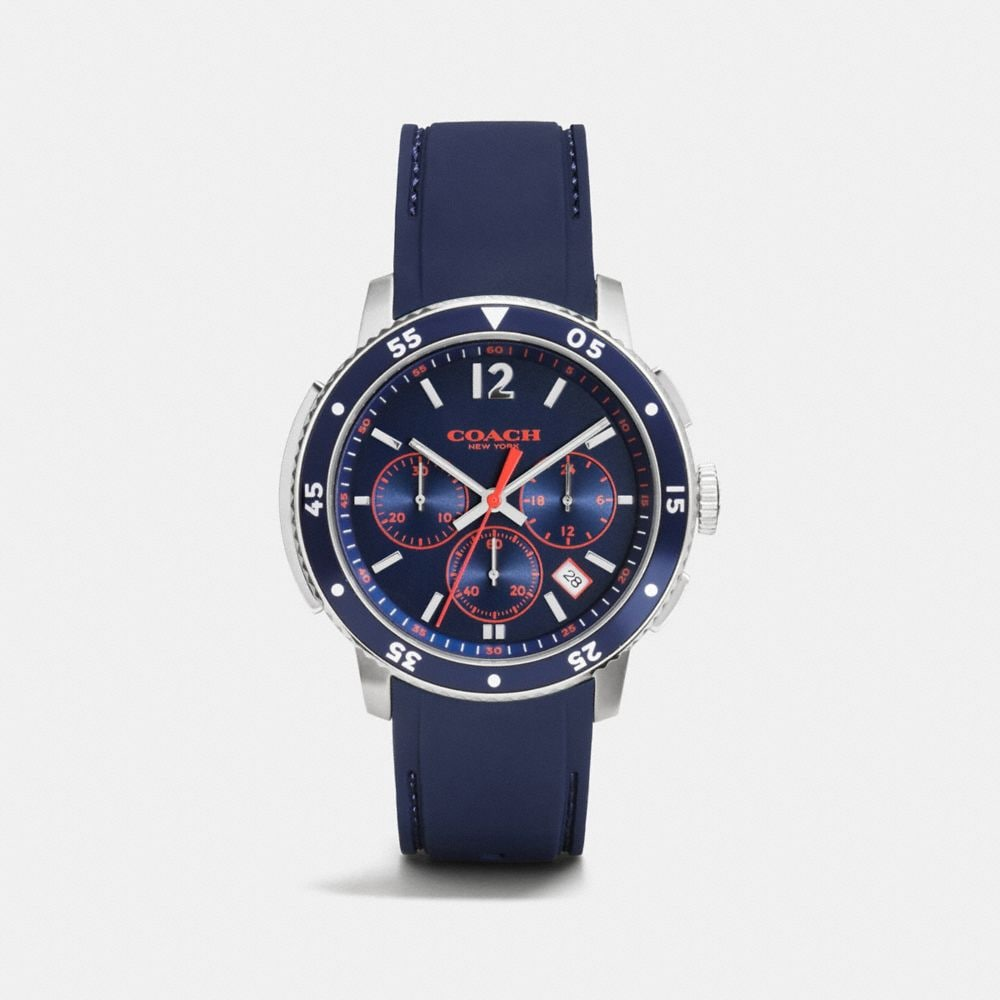 BLEECKER SPORT STAINLESS STEEL CHRONO RUBBER STRAP WATCH