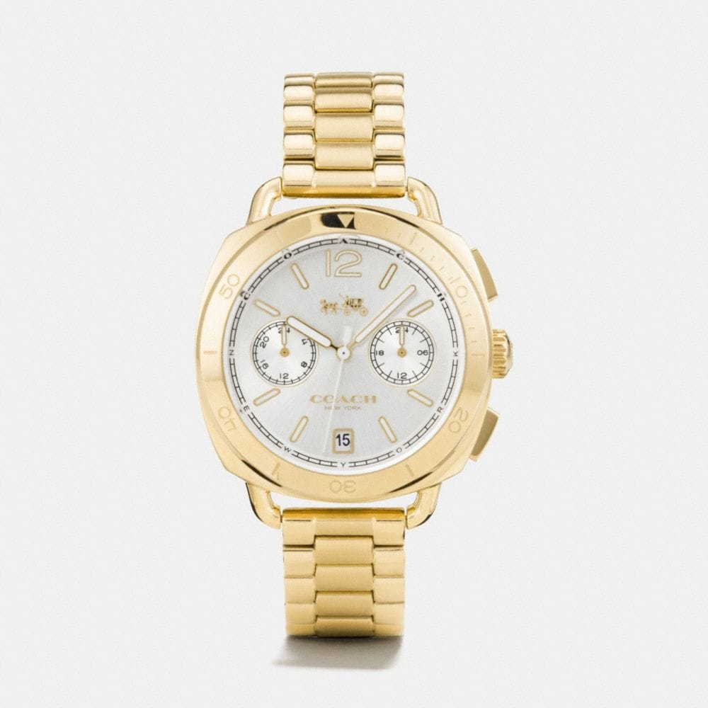 TATUM GOLD TONE SUNRAY DIAL BRACELET WATCH