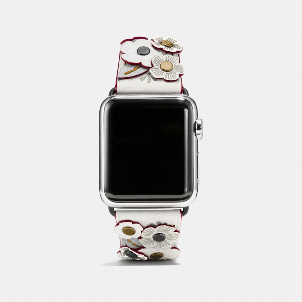 APPLE WATCH® TEA ROSE APPLIQUE LEATHER STRAP