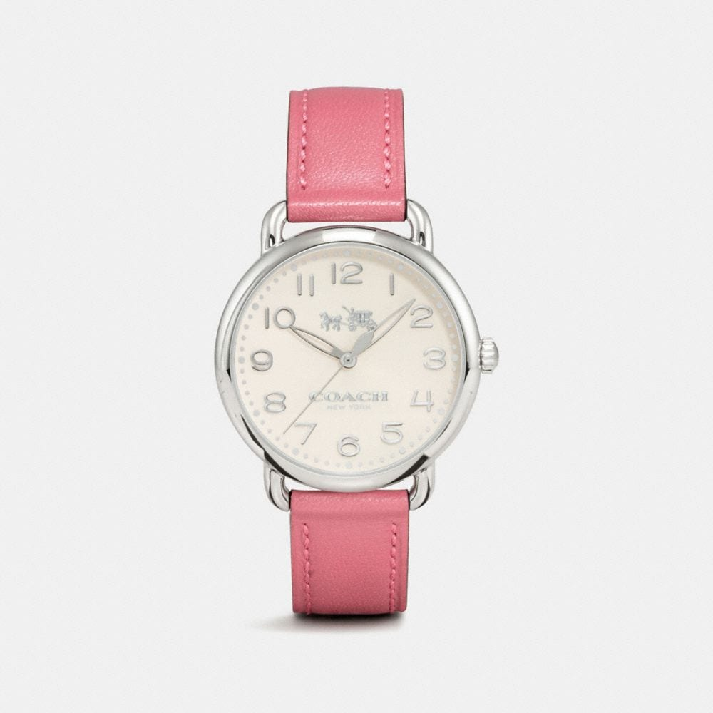DELANCEY STAINLESS STEEL SUNRAY DIAL LEATHER STRAP WATCH