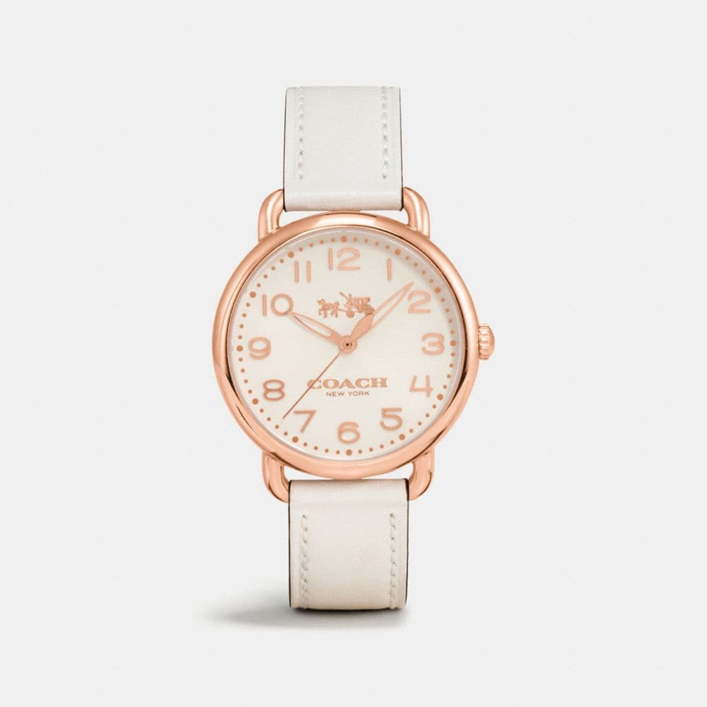 DELANCEY ROSE GOLD TONE SUNRAY DIAL LEATHER STRAP WATCH