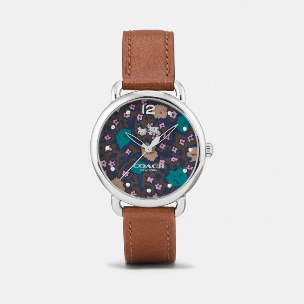 DELANCEY STAINLESS STEEL FLORAL DIAL LEATHER STRAP WATCH