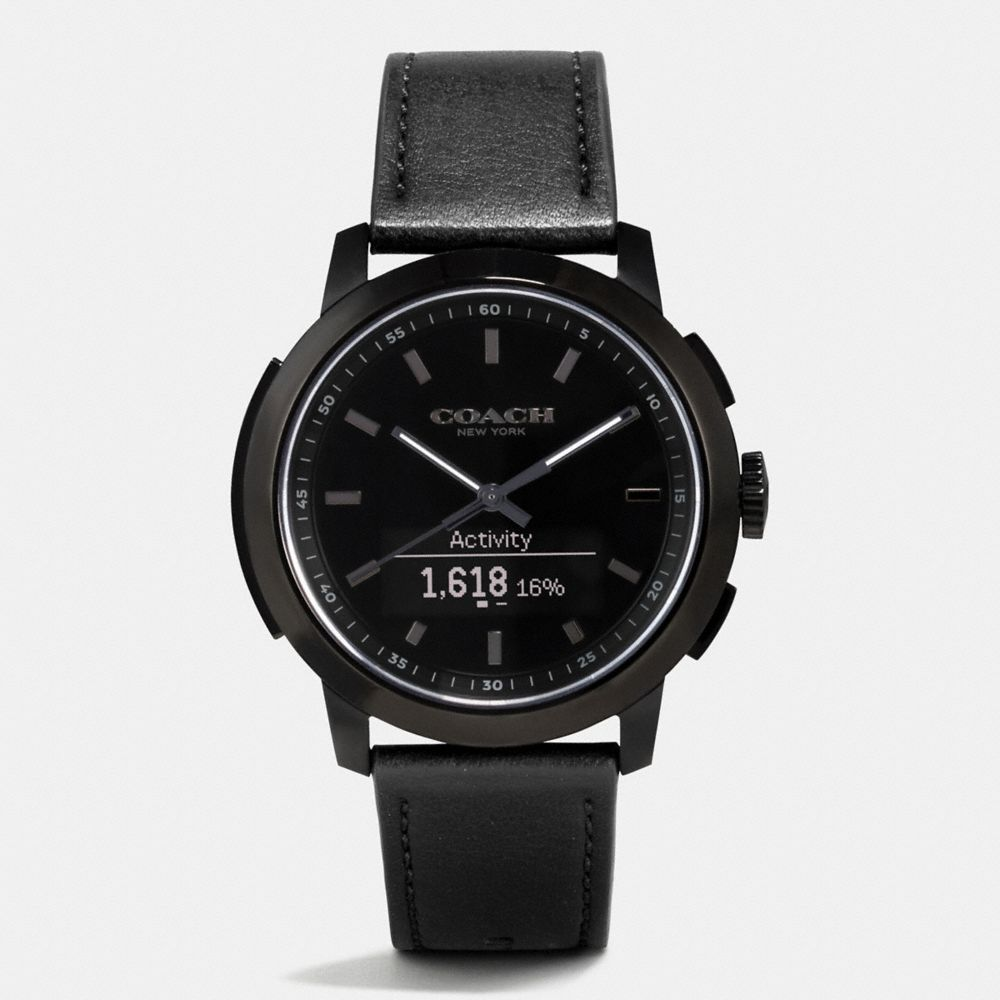 BLEECKER SMART IONIZED PLATED LEATHER STRAP WATCH
